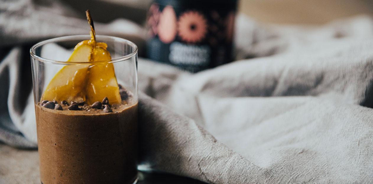 συνταγή πουτίγκα με τσια chia αχλάδι pear power mix cocoa πρωτεΐνη protein vegan eat healthy διατροφή fitness